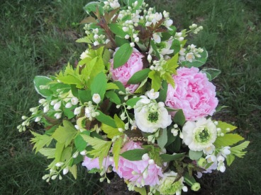 peonies, ranunculus, physocarpus, mock orange
