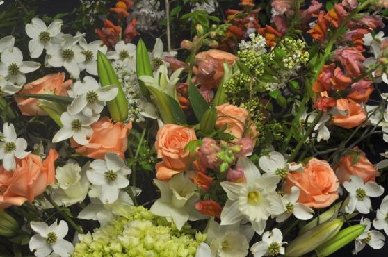 dogwood, roses, lilies