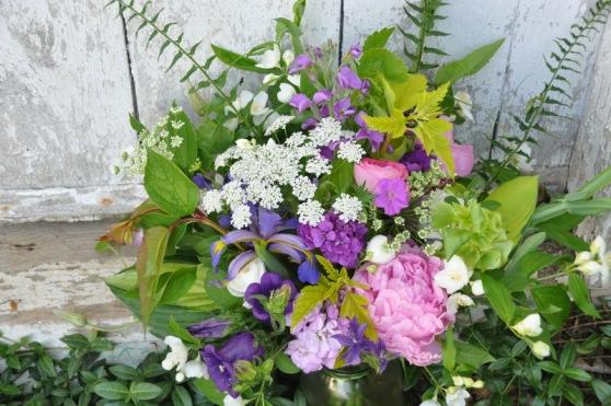 peonies, stock, ammi, iris, ranunculus