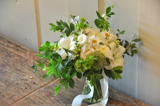 Just right for Traci. Lilies, daisies, lisianthus, queen Anne's lace, and baptisia.