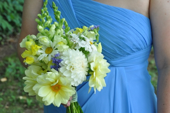 Loved Marti's cornflower blue dress with yellow and white dahlias and just a touch of blue